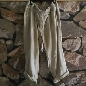 100% Cotton /Linen Old Navy Cropped Ankle Khakis